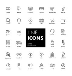 Line icons set e-commerce vector