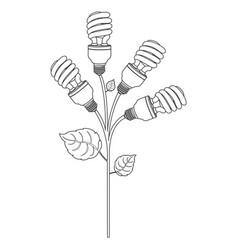 monochrome contour of spiral fluorescent bulbs vector image vector image