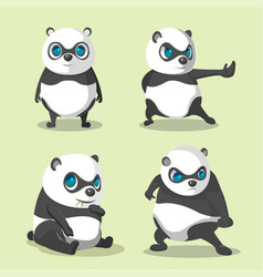 panda cute character collection set vector image vector image