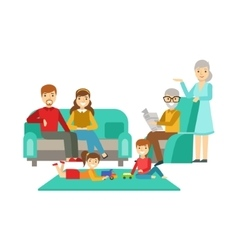 Parents and grandparents watching kids play happy vector