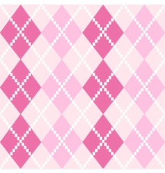 Pink seamless argyle pattern for valentines day vector