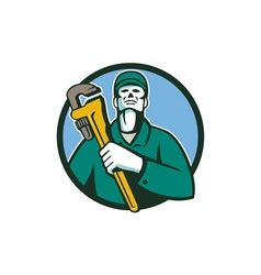 Plumber Holding Wrench Circle Retro vector image vector image
