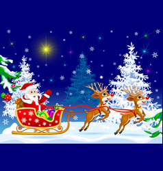 santa on sleigh with deer vector image vector image