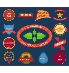 Set of flat colored vintage labels vector image vector image