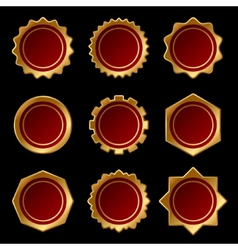 Set of golden blank seal wax stamp vector