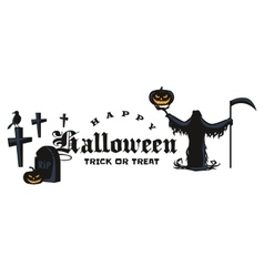 Set Of Happy Halloween Badges and Labels vector image