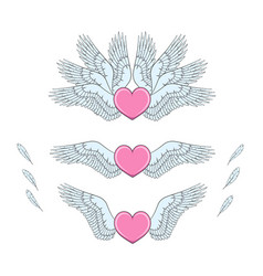 set of pink hearts with white wings vector image