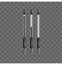 Set of transparent black gel pens vector image