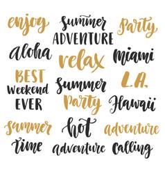 summer cute hand written brush lettering set vector image vector image