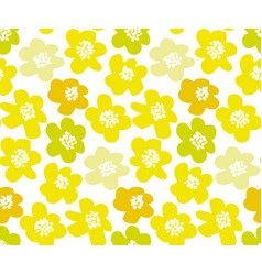 Sunny lemon color summer floral in retro 60s style vector