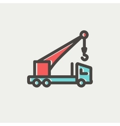 Tow truck thin line icon vector image
