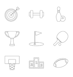 Training icons set outline style vector