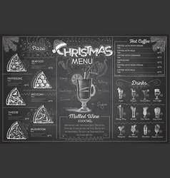 Vintage chalk drawing christmas menu design vector