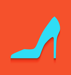 Woman shoe sign whitish icon on brick vector