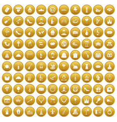100 banquet icons set gold vector