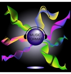 A musical theme with disco ball and headphones vector