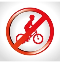 prohibition bicycle icon design isolated vector image