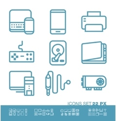 Technology and hardware icons vector image