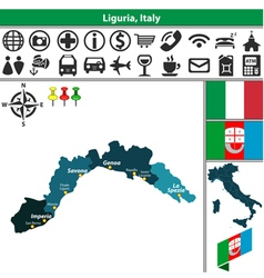 Map of Liguria vector image