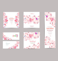 Romantic collection of greeting cards with fancy vector