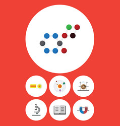 Flat icon science set of attractive force lecture vector