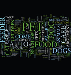 Auto pet feeder text background word cloud concept vector