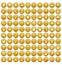 100 banquet icons set gold vector