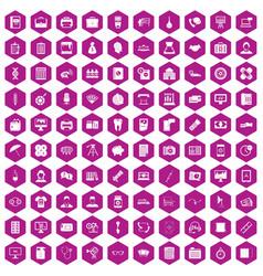 100 department icons hexagon violet vector