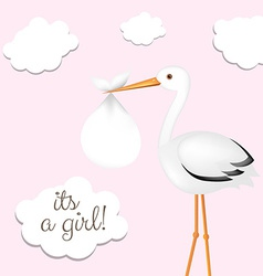 Stork with girl baby vector