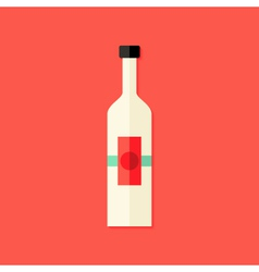 Christmas bottle of wine flat icon vector