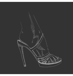 Hand-drawing female foot vector