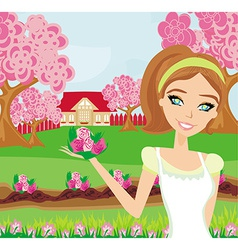 Beautiful woman plant flowers in the garden vector