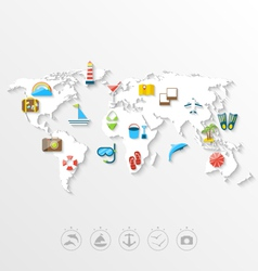 Map of world travel concept simple colorful flat vector