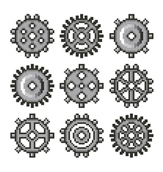 Pixel gears for games icons set vector image