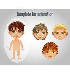 Set of four images of boys for animation vector