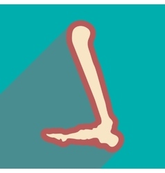 Flat icon with long shadow human leg bone vector