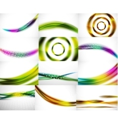 Set of blurred flowing waves backgrounds vector