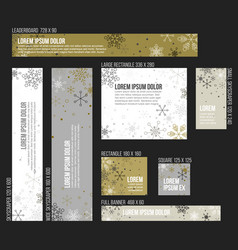 8 standard size winter christmas banner templates vector