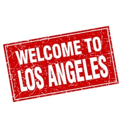 Los angeles red square grunge welcome to stamp vector