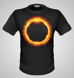 T shirts black fire print man 19 vector