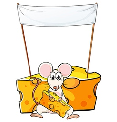 A mouse eating below the empty banner vector image vector image