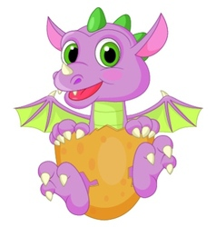 Baby dinosaur cartoon hatching vector image