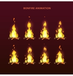 Bonfire animation sprites vector