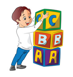 Boy stacking alphabet blocks vector