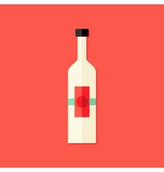 Christmas bottle of wine flat icon vector