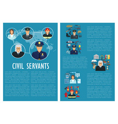 civil servants judge police aviation poster vector image vector image