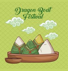 Dragon boat festival cartoon design vector