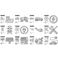 Ecology line icon set vector