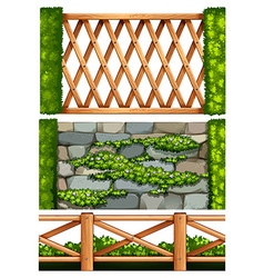Fence design with wooden and stone vector