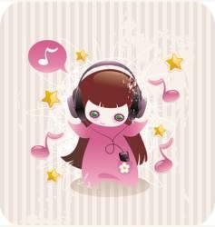 girl with headphones vector image vector image